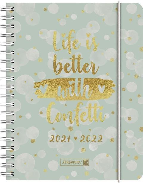 BRUNNEN 1071855092 Wochenkalender/Schülerkalender 2021/2022 Confetti -