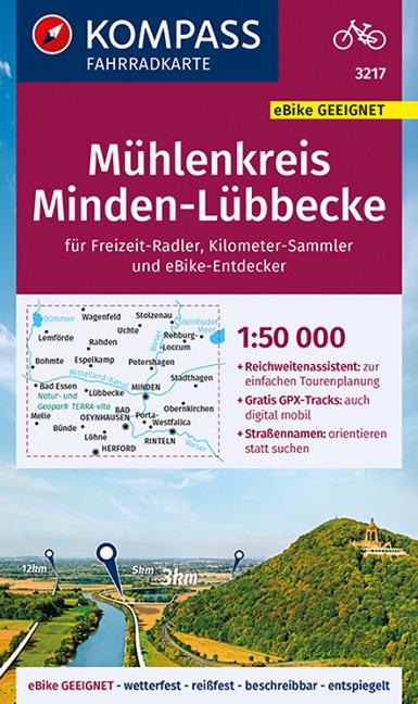 KOMPASS Fahrradkarte Mühlenkreis Minden-Lübbecke 1:50.000, FK 3217