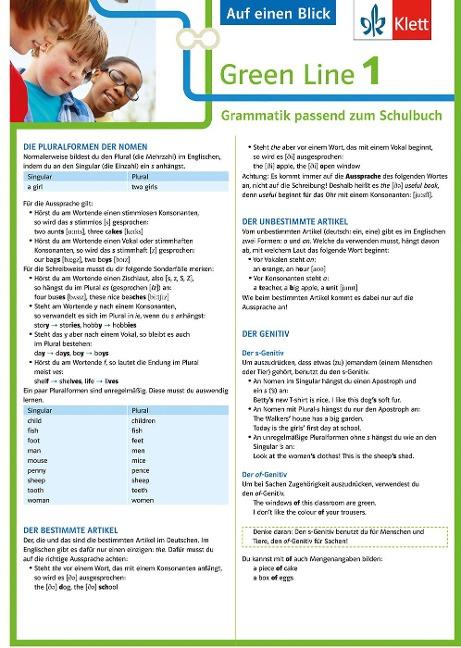 Green Line 1 G8 und G9 Klasse 5 - Auf einen Blick. Grammatik passend zum Schulbuch - Klappkarte (6 Seiten) -