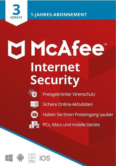 McAfee Internet Security 3 Geräte 2021 (Code in a Box). Für Windows/MAC/Android/iOs -
