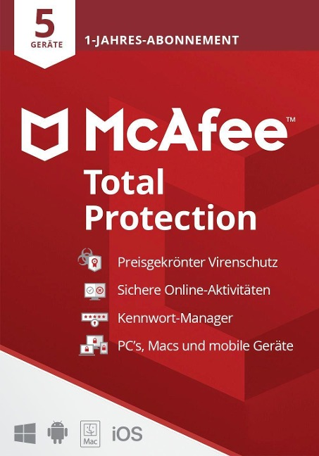 McAfee Total Protection 5 Geräte 2021 (Code in a Box). Für Windows//MAC/Android/iOs -