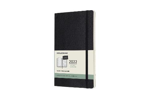 Moleskine 12 Monate Wochen Notizkalender Deutsch 2022, Large/A5, 1 Wo = 1 rechts linierte Seite, Weicher Einband, Schwarz -