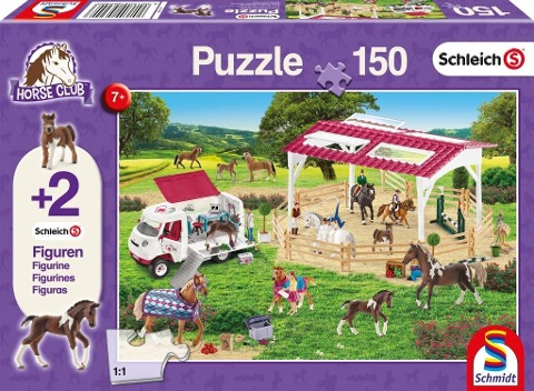 Schleich: Reitschule und Tierärztin, 150 Teile - Kinderpuzzle. Mit 2 Schleich-Figuren -