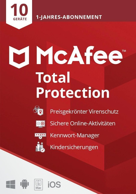 McAfee Total Protection 10 Geräte 2021 (Code in a Box). Für Windows/MAC/Android/iOs -