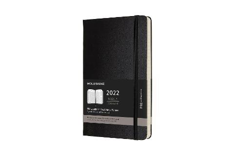 Moleskine 12 Monate Pro Wochen Notizkalender 2022, Pro Large/A5, 1 Wo = 2 Seiten, vertikal, Spalten für Notizen, Gebunden, Schwarz -