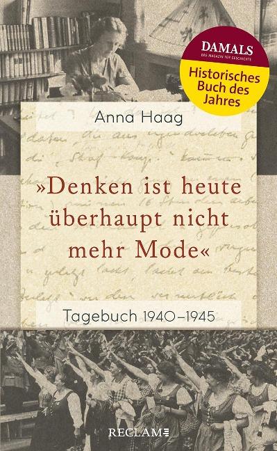 »Denken ist heute überhaupt nicht mehr Mode« - Anna Haag