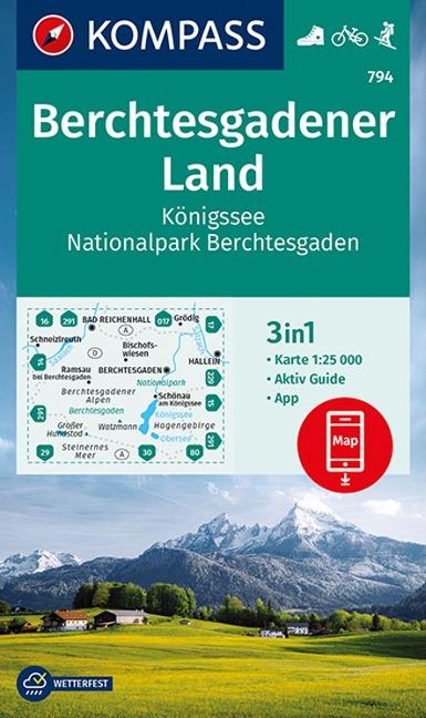 KOMPASS Wanderkarte Berchtesgadener Land, Königssee, Nationalpark Berchtesgaden 1:25 000 -