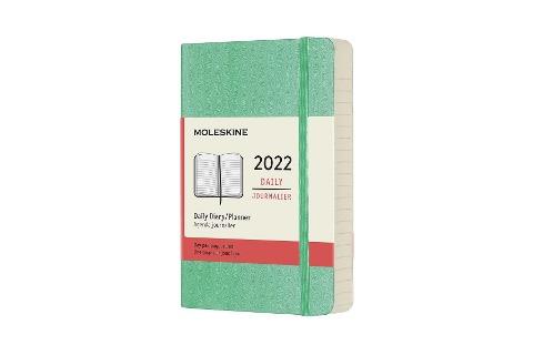 Moleskine 12 Monate Tageskalender 2022, Pocket/A6, 1 Tag = 1 Seite, Weicher Einband, Eisgrün -