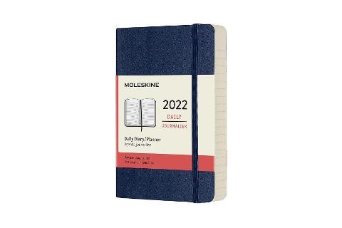 Moleskine 12 Monate Tageskalender 2022, Pocket/A6, 1 Tag = 1 Seite, Weicher Einband, Saphir -