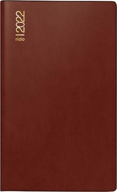 rido/idé 7046892292 Monatskalender/Taschenkalender 2022 Modell M-Planer, Kunststoff-Einband, bordeaux -