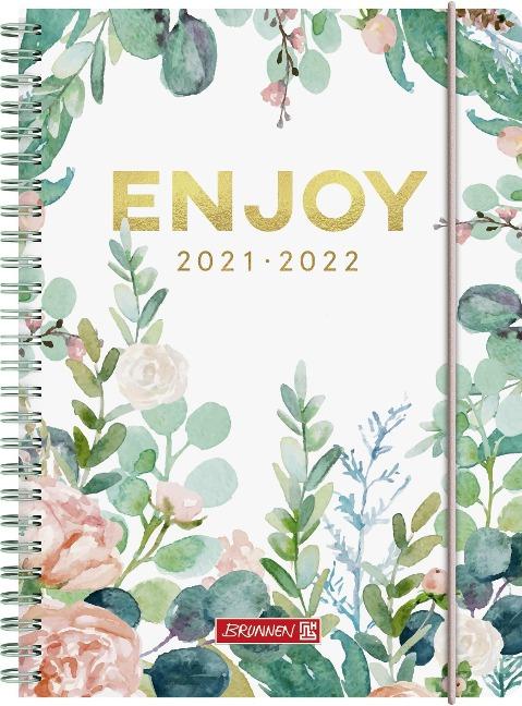 """BRUNNEN 1072155142 Schülerkalender 2021/2022 (18 Monate) """"Enjoy"""", A5, PP-Einband -"""